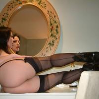Hot Ass And Legs In High Heels And Stockings - Brown Hair, Dark Hair, Heels, Long Hair, Long Legs, Red Hair, Stockings, Hot Wife, Sexy Legs