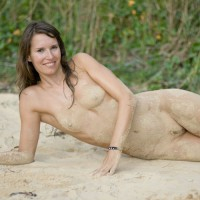 Sand Encrusted Nude - Brunette Hair, Long Hair, Small Breasts, Small Tits, Looking At The Camera, Naked Girl, Nude Amateur