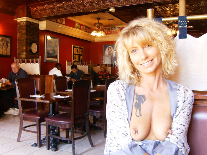 Pic #1 - MILF Flashing In A Restaurant - Blonde Hair, Flashing, Milf, Nude In Public, Pierced Nipples, Naked Girl, Nude Amateur , Mature Blond, Big Erect Nipples, Tattoo On Breasts, Restaurant, Public Nudity, Nipple Jewelry, Long Pierced Nipples, Blue Print Blouse, Boob Slip, Mature Boobs With Random Tattoo, Public Nude