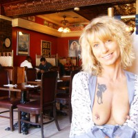 MILF Flashing In A Restaurant - Blonde Hair, Flashing, Milf, Nude In Public, Pierced Nipples, Naked Girl, Nude Amateur
