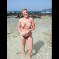Topless At The Beach - Big Tits, Blonde Hair, Topless