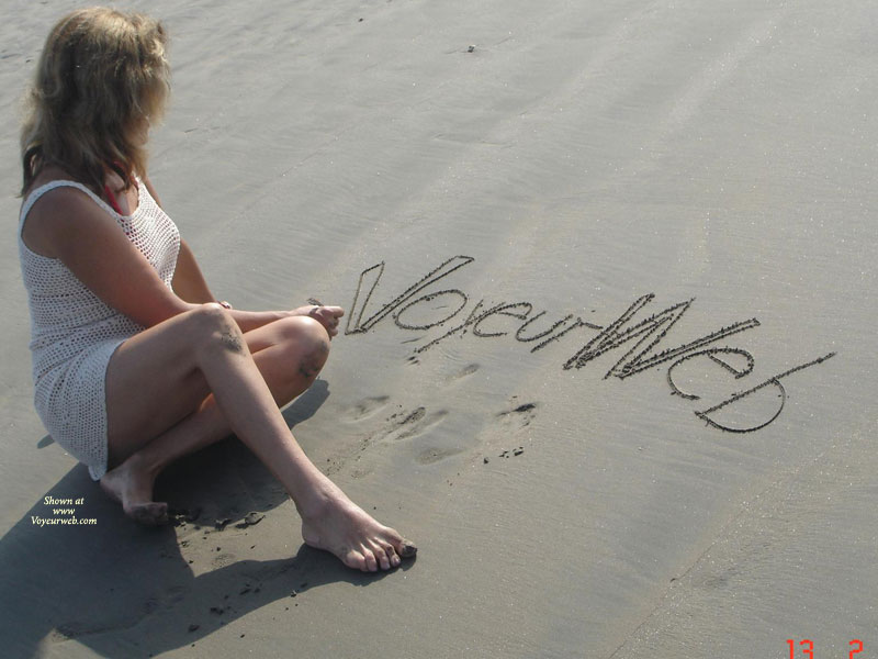 Pic #1 - VW On The Beach , Dressed In Net, Vw On Sand In White Net Dress, Beach