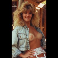 Open Denim Shirt Displaying Boobs And White Garter Belt - Blonde Hair, Tan Lines, Looking At The Camera
