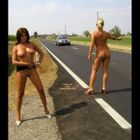 Naked Girls Hitchhiking - Naked Outdoors, Two Women
