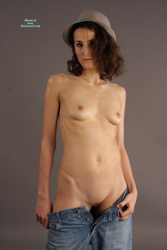 Pic #1 - Brunette Naked In Hat And Jeans Pulled Down - Brunette Hair, Dark Hair, Shaved Pussy, Small Breasts, Small Tits , Small Brimmed Grey Hat, Petite In Jeans, Hat And Jeans, Undressing Blue Jeans, Open Blue Jeans, Grey Fedora, Blue Jeans Unbuttoned, Skinny, Studio Shot, Naked Lady Wearing A Hat, Button Up Jeans