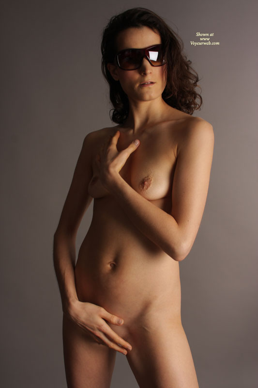 Pic #1 - Nude Girlfriend With Dark Glasses Standing - Small Breasts, Naked Girl, Nude Amateur, Sexy Girlfriend , Sleek, Slender, Sensual Torso, Standing, Hiding Pussy, Tiny Nipples, Posing Nude, Breasts And Belly Exposed, Elegant, Standing Frontal Pose, Long And Slender Body, Cold Nipples