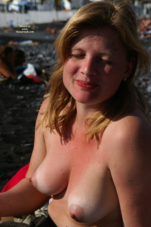 Pic #1 - Topless Beach - Blonde Hair, Erect Nipples, Large Breasts, Topless , Outdoor Tits, Eyes Closed, Large Pear-shaped Breasts, Puffy Nipples, Pink Areolas, Blinked, Sun Warmed Breasts