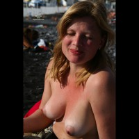 Topless Beach - Blonde Hair, Erect Nipples, Large Breasts, Topless