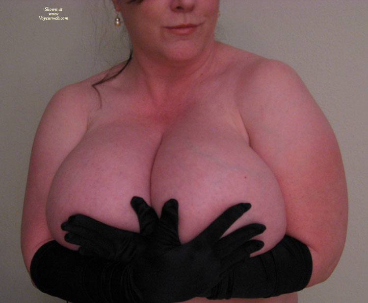 Pic #1 - Black Elbow Length Gloves Holding Huge Boobs - Huge Tits, Natural Tits , Bra Busting Boobs, Pink Skin, Mammoth Knockers, Too Large Hands, Huges Tits, Huge Natural Tits, Gargantuan Breasts