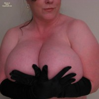 Black Elbow Length Gloves Holding Huge Boobs - Huge Tits, Natural Tits