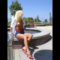 Red High Heels - Long Hair, Nude Outdoors, Skirt