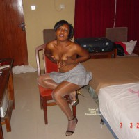 Topless Afro-american Girl - Black Hair, Heels, Small Breasts, Topless