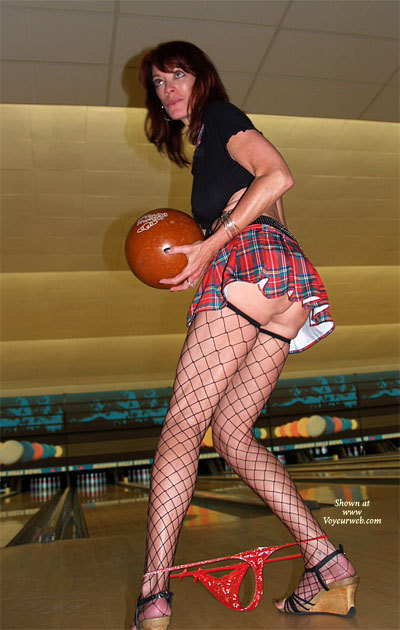 Bowling Upskirt Posed - Upskirt , Short-shirt, G-string Around Ankles, Bowling Bottomless, Indoor Sports, Bowling Flash, Plaid Skirt, Short Skirt, Fishnet Stockings, Skinny Legs Below Short Skirt, Wardrobe Malfunction At Friday Night Bowling Tournament, Panties Fell Down