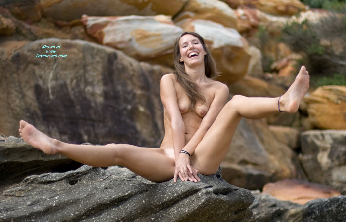 Fully Nude Model Sitting On A Large Rock - March, 2008 -8749
