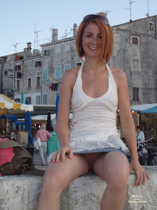 Outdoor Without Panty - Flashing, Spread Legs, Sunglasses , Flashing Pussy, Sitting On Wall, Upskirt No Panties, Pussy In A Market, Upskirt, Exposed In Public, Legs Spread Apart, Upskirt Sits On Wall, Legs Partially Spread, Pussy Exposed, Short Skirt, White Dress