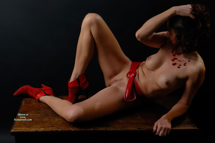 Pic #1 - Naked Brunette With Medium Boobs And Landing Strip On Desk - Brunette Hair, Dark Hair, Erect Nipples, Heels, Landing Strip, Naked Girl, Nude Amateur , Red Ankle Boots, Red Nailpolish, Red Suede High Heels, Reclining Nude With Dark Hair, Artistic On Table, Nude Girl On A Desk, Naked With Red Boots And Belt, Red Belt, Medium Sized Boobs With Erected Nipples, Red Belt, Red Shoes, Red Necklace, Sexy Body
