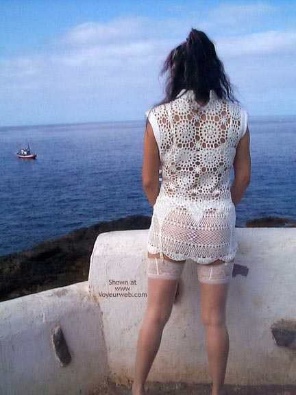 Pic #1 - See Thru Dress & Stockings Outdoors