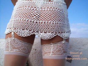 Pic #2 - See Thru Dress & Stockings Outdoors