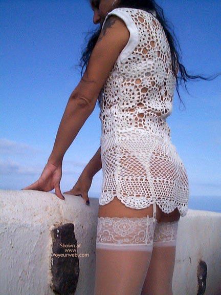 Pic #5 - See Thru Dress & Stockings Outdoors