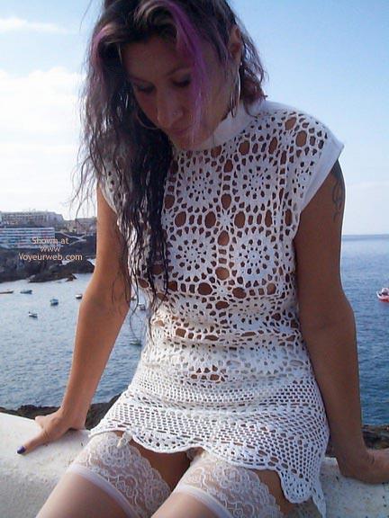 Pic #8 - See Thru Dress & Stockings Outdoors