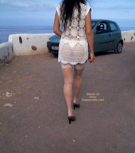 Pic #10 - See Thru Dress & Stockings Outdoors