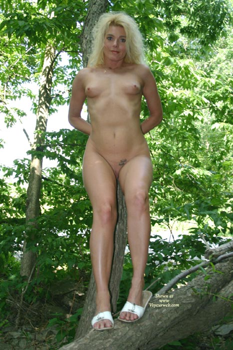 Pic #1 - Full Frontal Nude In Tree - Blonde Hair, Shaved Pussy, Small Breasts, Naked Girl, Nude Amateur , In The Woods, Tattoo On Pussy, Fuzzy Blonde Hair, Pert Breasts, Full Frontal Nude With Face Shot, Hands Behind Back Half Smiling Nude Outdoors