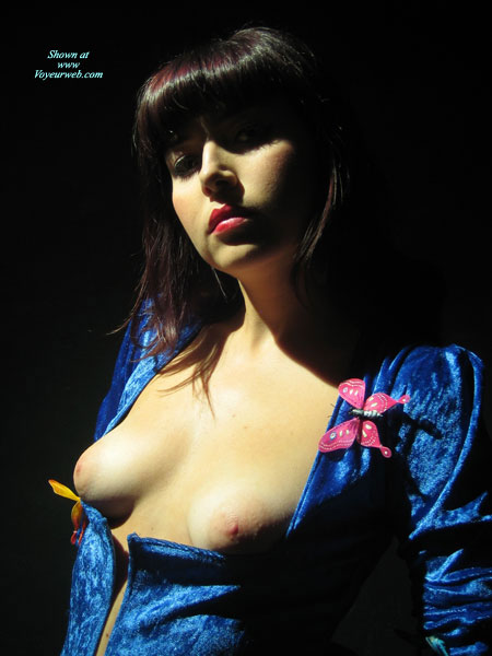 Pic #1 - Blue Dress - Small Tits , Gothic Goddess, Pink Nipples, Blue Velour Dress, Dress Exposing Boobs, Non-erect Nipples, Very Red Lipstick, Very Deep Neckline, Pink Butterfly Pin
