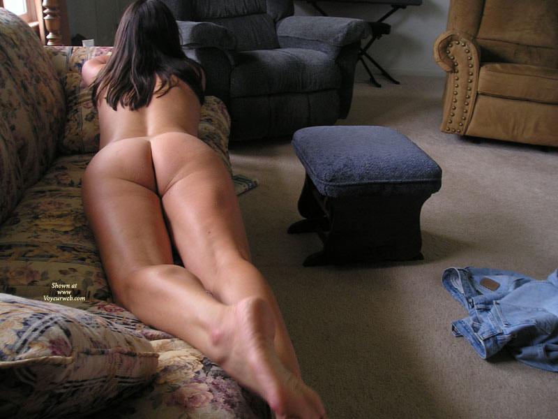 """Pic #1 - Missouri Farmwife-Still Naked On The Couch , Hi Again!<br />Wow......was So Overwhelmed By The Response To My Post A Few Days Ago, I Thought I'd Send In A Few More Pics. <br />So Many Sweet Comments! You Guys Definitely Know How To Make A """"middle Aged"""" Gal Feel Good!<br />Being Home Most Of The Day (and Naked Most Of The Time), Hubby Has Lots Of Opportunities To Take Pics When He Comes In At Lunch, Especially When He Catches Me Masturbating On The Couch!<br />Hey, A Girl Can't Work ALL The Time! Of Course, After Lunch Dessert Is The Best Part Of The Day For Both Of Us...<br />Now I'm Just Eager For Warmer Weather To Get Here So I Don't Have To Cover Up When I Take His Lunch Out To Him....you Should See The Look On His Face When I Pull The Pickup Up To His Tractor Or Combine With Nothing On But My Flipflops!<br />Can't Wait!"""