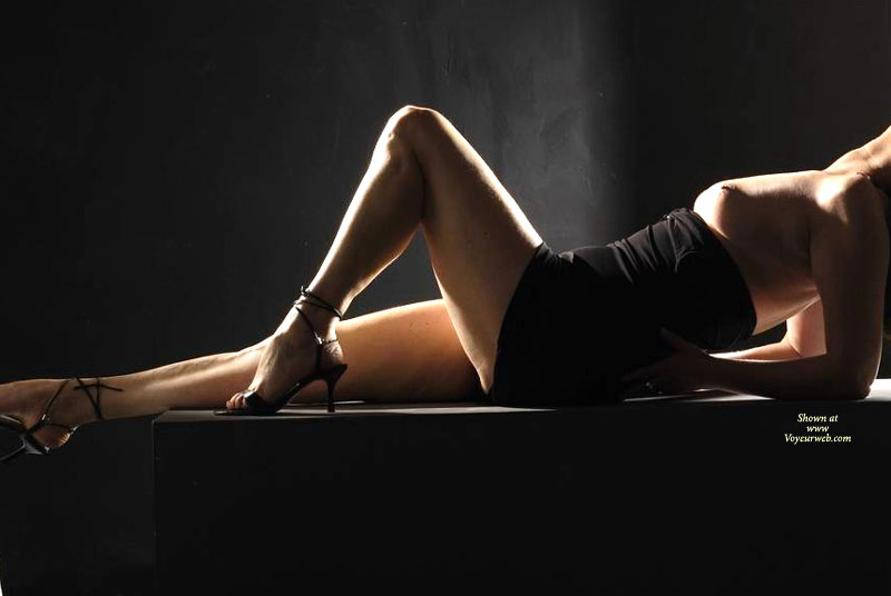 Pic #1 - Sexy Silhouette - Heels, Sexy Legs , Propped On Elbows, Black Dress Pulled Down, Black Heels, Black Mini Dress, Little Black Dress, Tube Dress, Shadow Picture, Reclining On Her Back, Tits Hanging Naturally, Black Dress, Short Black Dress, One Bare Leg Raised, Ankle Straps