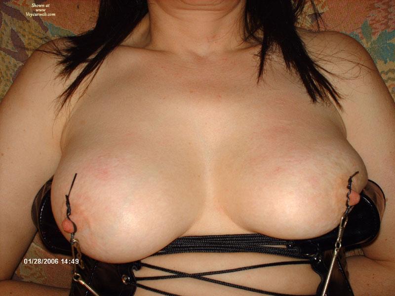 Pic #1 - Nipple Clammed - Black Hair, Bondage, Hard Nipple , Big Breasts, Nipple Bondage, Fetish, Huge Breasts, Nipple Clips, Black Corset, Close-up Tits, Nipple Stimulation, Nipple Tease