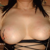 Nipple Clammed - Black Hair, Bondage, Hard Nipple