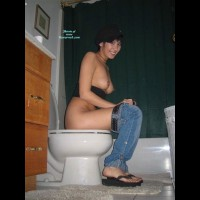 Girl On The Toilet - Perky Tits, Topless