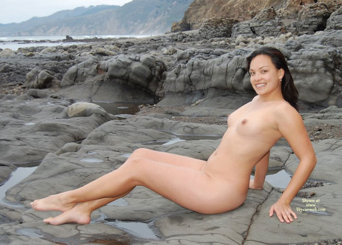 Pic #1 - Nude Milf - Black Hair, Dark Hair, Erect Nipples, Milf, Nude Outdoors, Naked Girl, Nude Amateur , Outdoor Nude Profile, Big Smile, Smiling Into Cam, Smiling, Total Nude, Nude On The Rocks At Low Tide, Nude At Beach, Dark Haired, Muscular Legs