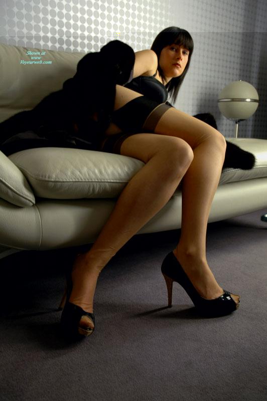 Pic #1 - Sexy High Heels - Black Hair, Heels, Long Hair, Long Legs, Sexy Legs, Sexy Shoes , Black Platform Peeptoe Pumps, Short Sexy Skirt, Strappy High Heels, Black Bra, Garter Belt, Spiked Heel Vogue, Black Hair Beauty With Black Lingerie, Black Thigh High, Black Fur Heels And Hose