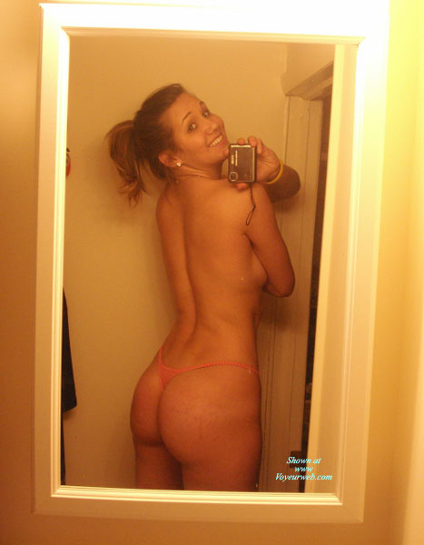 Pic #1 - Girl Next Door Body And Smile - Self Shot , In The Mirror, Mirror Shot, Pink Thong, Cute Smile, Self Photo, Girl In Washroom