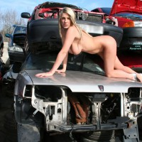 Nude In Auto Salvage Yard - Blonde Hair, Huge Tits, Naked Girl, Nude Amateur