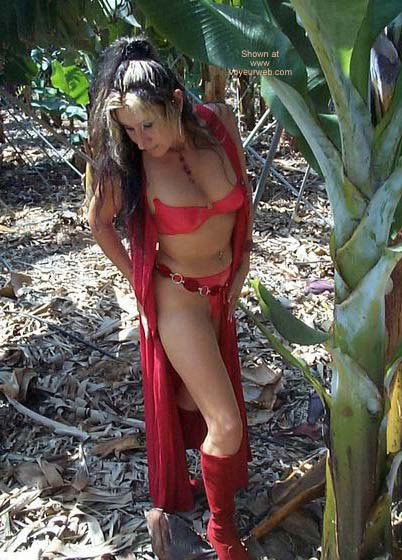 Pic #2 - Red Lingerie in a Banana Plantation!!