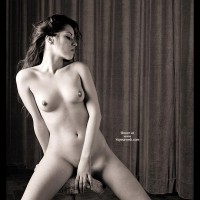 Long Dark Hair - Black And White, Dark Hair, Erect Nipples, Large Breasts, Pierced Nipples
