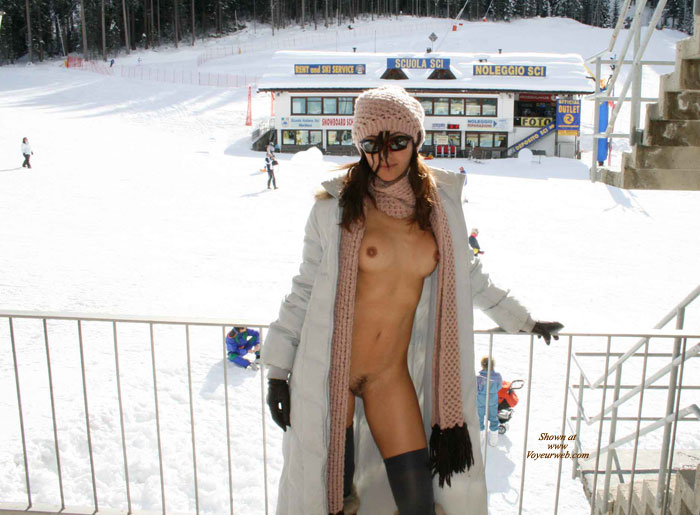 Pic #1 - Nude With Boots And Coat At Ski Area - Brown Hair, Long Hair, Perky Nipples, Stockings, Trimmed Pussy, Naked Girl, Nude Amateur , Long Winter Coat And Scarf, Pointed Nipples, Wooly Scarf, Sun Glasses, Pink Knit Hat, Nude Under Coat In The Snow, Nude Under Coat At Ski Area, Black Gloves