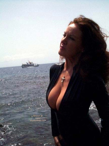 Pic #1 - Black PVC Catsuit On The Beach!!