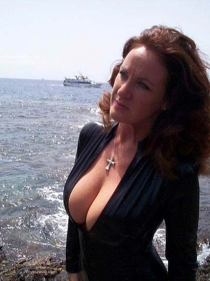 Pic #2 - Black PVC Catsuit On The Beach!!
