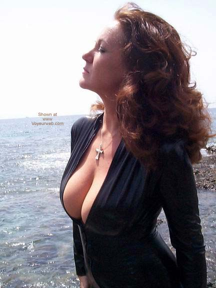 Pic #3 - Black PVC Catsuit On The Beach!!