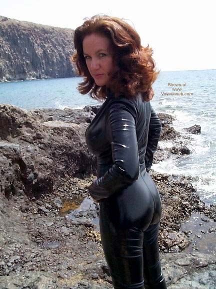 Pic #4 - Black PVC Catsuit On The Beach!!