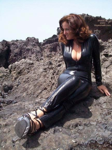 Pic #5 - Black PVC Catsuit On The Beach!!