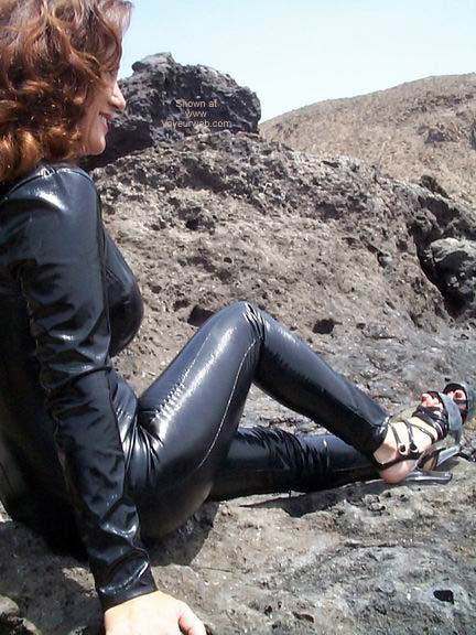 Pic #6 - Black PVC Catsuit On The Beach!!