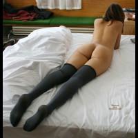 Butt On A Bed - Brown Hair, Brunette Hair, Long Hair, Long Legs