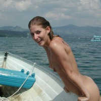 Swim Naked In Lake - Dark Hair, Erect Nipples, Small Tits