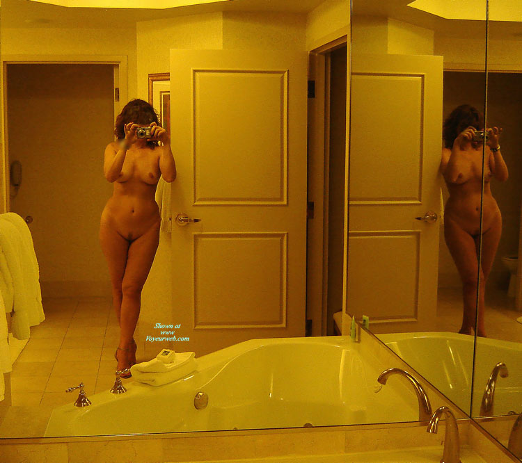 Pic #1 - Beauty With Curves Takes Her Own Nude Self Portrait In The Mirror - Heels, Landing Strip, Milf, Self Shot, Naked Girl, Nude Amateur, Sexy Legs , Full Frontal Nudity, Double Frontal Nude, Hands Holding Camera In Front Of Face, Camera Before Face, Self Picture In Mirror, Mirror Image, Hourglass Figure, Standing Leaning On A Door, Standing In Bathroom