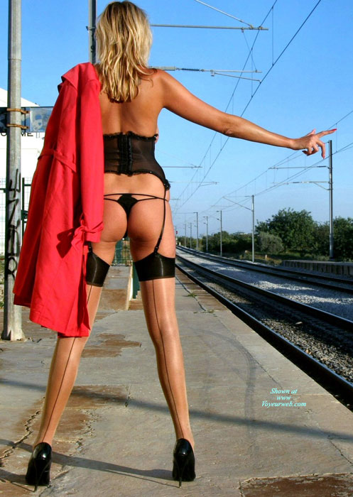 Pic #1 - Nude At A Train Station - Blonde Hair, Long Hair, Long Legs, Naked Girl, Nude Amateur, Sexy Legs , Black Pumps, Red Trenchcoat, Naked At The Train Stop, Waiting For The Train, Eip Garter And Stockings, Corset, Long Lean Legs, Sexy In Stockings