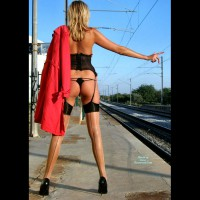 Nude At A Train Station - Blonde Hair, Long Hair, Long Legs, Naked Girl, Nude Amateur, Sexy Legs